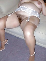 Charming old granny with hairy slit