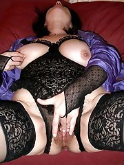 Dissolute aged mama playing with her titties