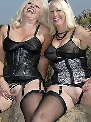 Elegant old lasses posing totally undressed